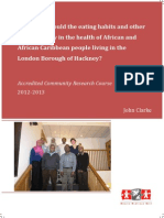 What roles could the eating habits and other lifestyles play in the health of African and African Caribbean people living in the London Borough of Hackney?