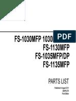 Kyocera FS1035MFP_1135MFP Parts List