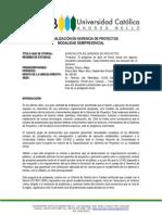 Especializacion en Gerencia de Proyectos. Semipresencial