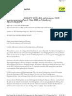 Außerordentlicher Bundesparteitag der FDP am 4./5. Mai 2013 - Rede Rösler gem. Manuskript