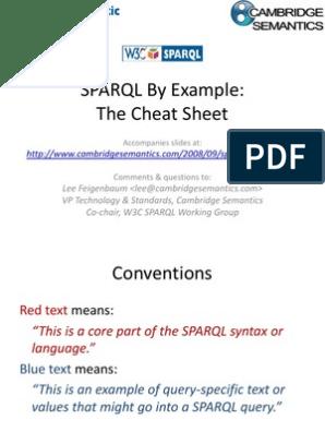 Sparql 1 1 Cheat Sheet   Resource Description Framework   Data