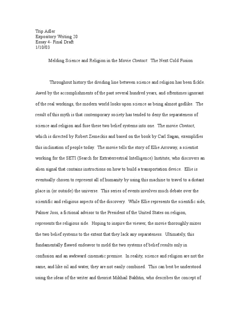 How To Write A High School Application Essay Melding Science And Religion In The Movie Contact The Next Cold Fusion   Relationship Between Religion And Science  Science Essay In English For Students also Healthy Eating Essay Melding Science And Religion In The Movie Contact The Next Cold  How To Write A Good Proposal Essay