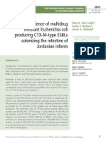 High incidence of multidrug resistant Escherichia coli producing CTX-M-type ESBLs colonizing the intestine of Jordanian infants