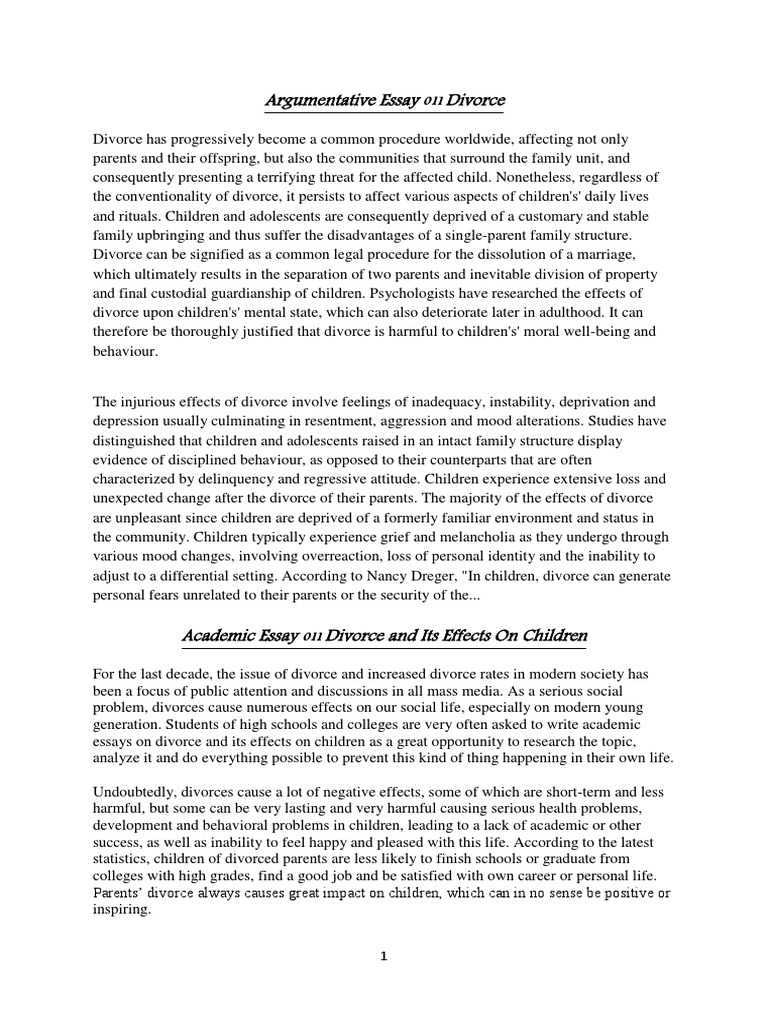 divorce essay introduction