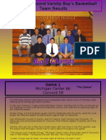 2008-09 Concord Varsity Boy's Basketball Team Results