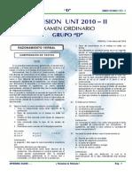 EXAMEN DE ADMISIÓN A LA UNT 2010 - II GRUPO D