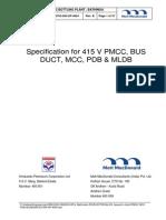 Spec for 415v Mcc, Mldb