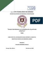 Estudio Hidrodinamico de La Fluidizacion de Particulas Cilindricas