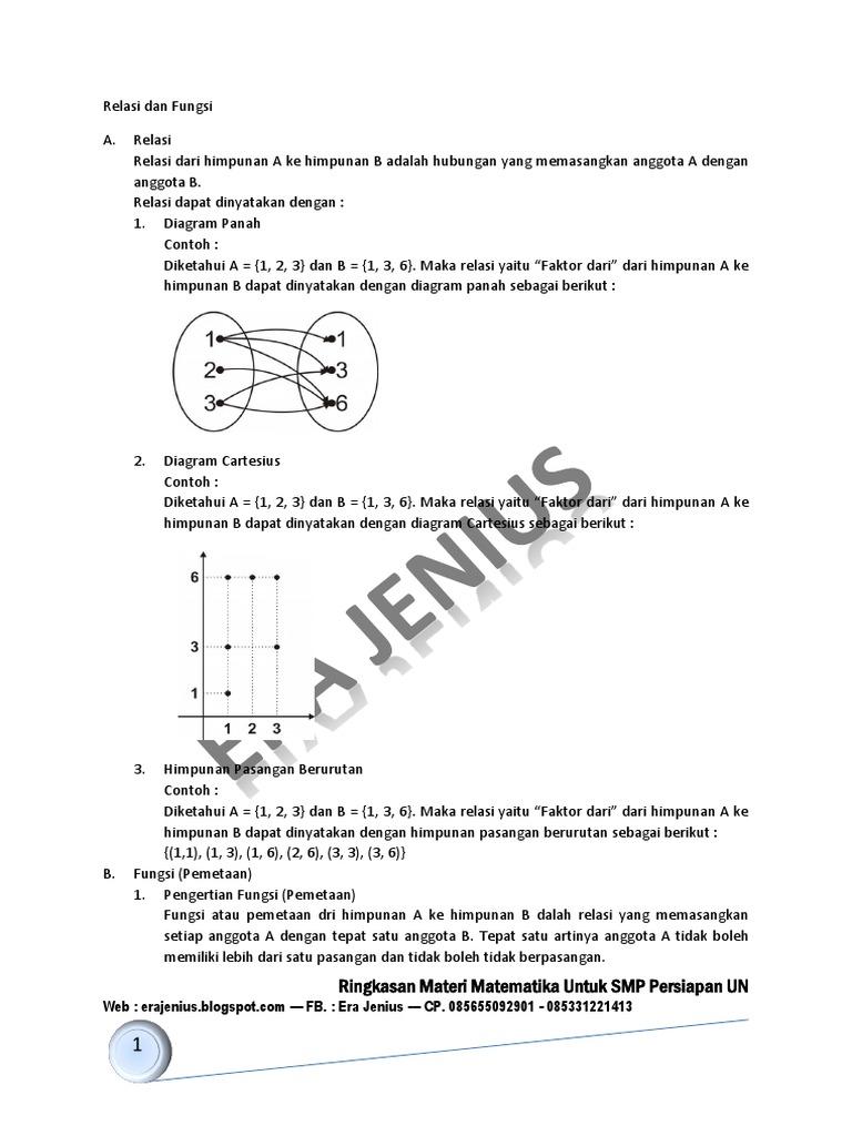 Smp kelas 9 bab relasi dan fungsi ccuart Gallery