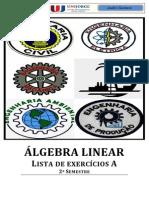 ÁLGEBRA LINEAR - Lista de exercícios por André Gustavo