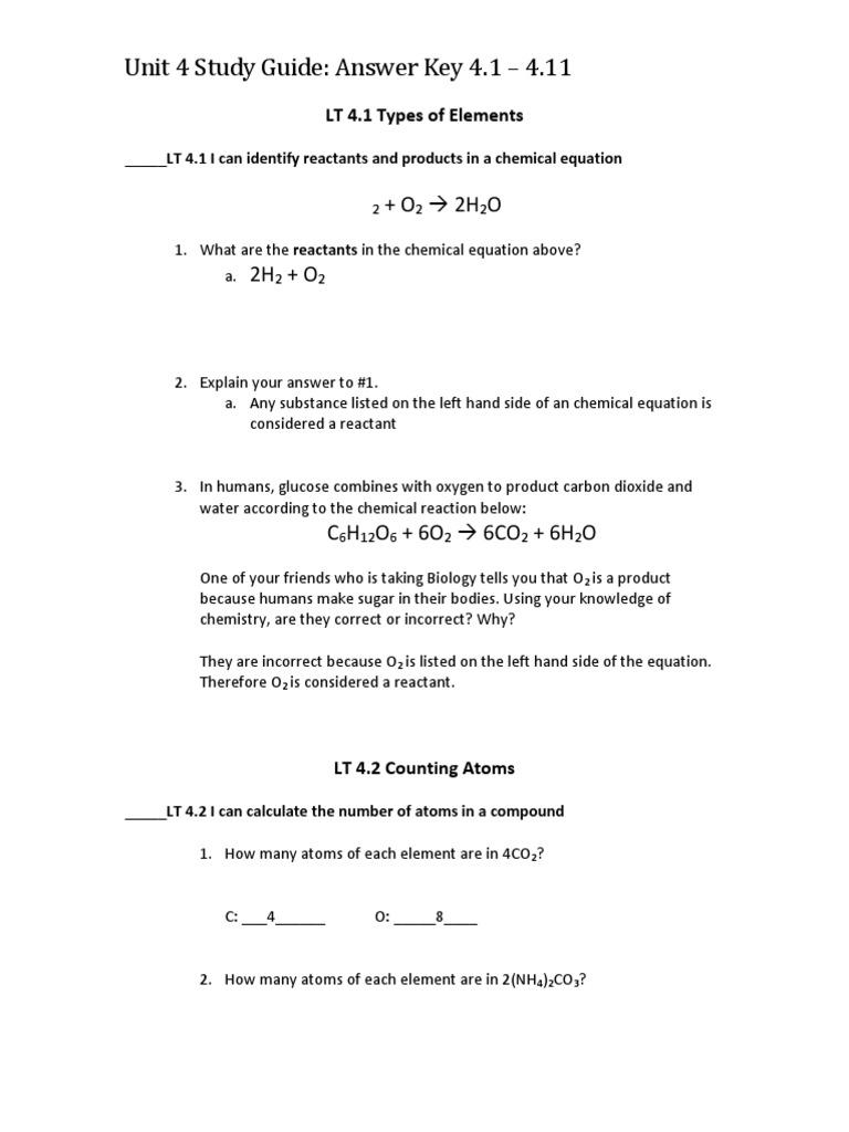 Unit 4 Study Guide Answer Key 4 1 4 11 Mole Unit Chemistry