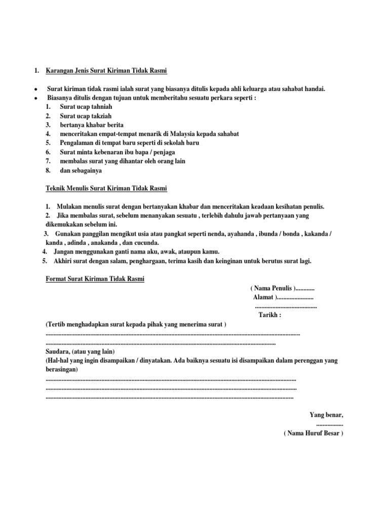 Contoh Surat Kiriman Tidak Rasmi Bm Thn 5