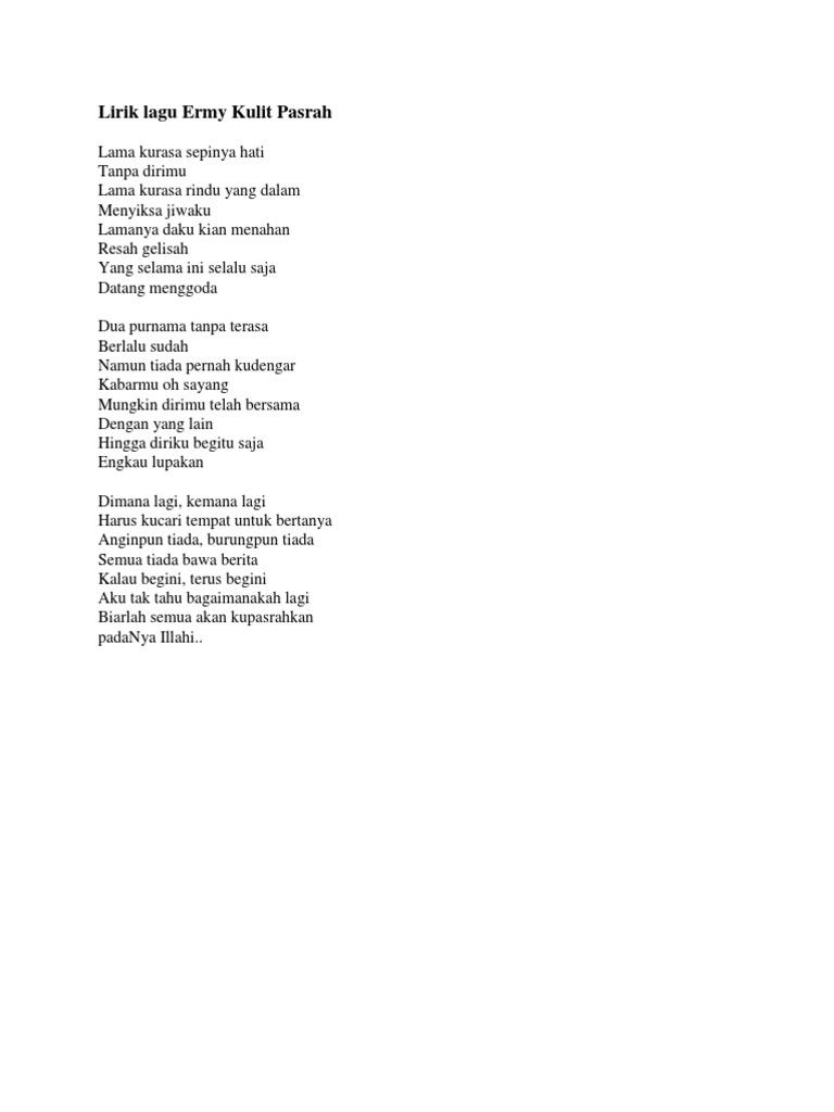 Lirik Lagu Ermy Kulit Pasrah
