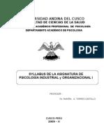 Silabus Ps. Indust. y Organizacional i 2009-II