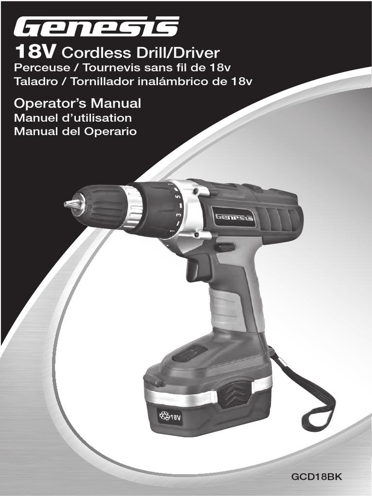 genesis 18v drill driver gcd18bk2 manual battery charger battery rh fr scribd com power drill instruction manual bosch power drill manual