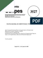Documentos CONPES Nro. 3527 ( Lineamientos Sobre La Competitividad en Colombia)