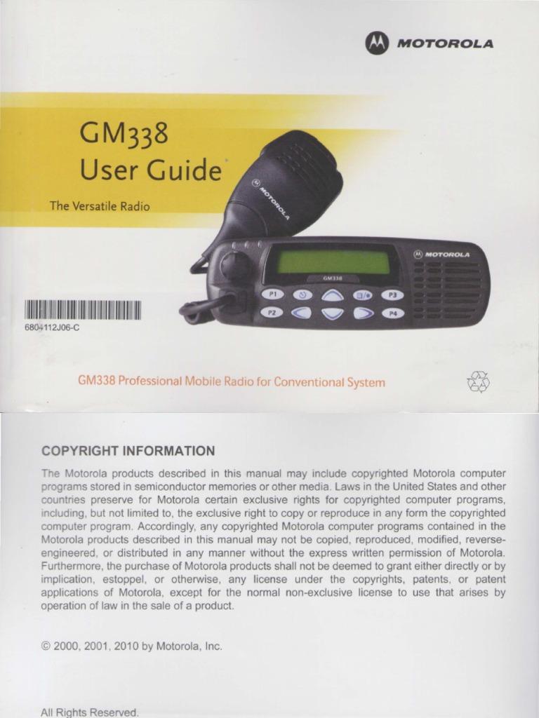 Motorola GM338 User Guide | Copyright | Motorola