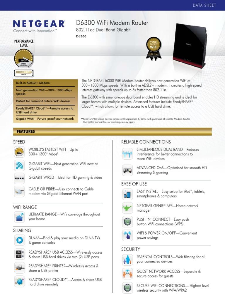 Netgear D6300 WiFi 802 11ac Dual Band Gigabit Modem Router