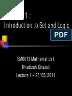 Chapter 1 - Introduction to Set & Logic I