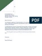 Sample Application Letter for Teaching Position