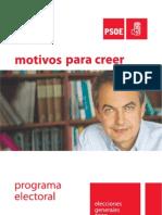 PROGRAMA PSOE ELECCIONES 9 MARZO 2008