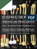 PROGRAMA DEL CONCIERTO DEL GRUPO DE PERCUSIÓN DEL CONSERVATORIO PROFESIONAL DE MÚSICA DE SALAMANCA EN LEÓN - 15.02.14