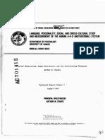 Estudio Social e Intercultural del Lenguaje, la Personalidad  y la Medición del Sistema (Motivacional) A-R-D Humano