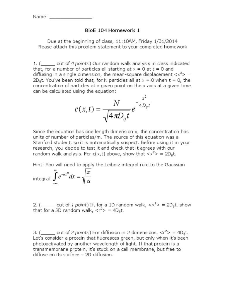 BE104 Homework 1 | Diffusion (54 views)