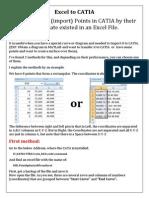 Excel to CATIA
