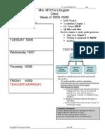 Agenda Week 9