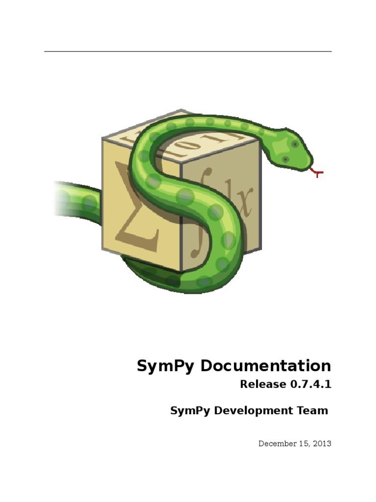 Sympy Docs PDF 0 7 4 1 | Python (Programming Language) | Polynomial