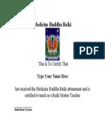 Medicine buddha Certificate