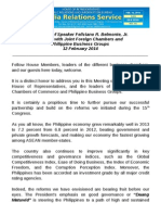 Feb12.2014 Sfb Message Jfc-pbgMessage of Speaker Feliciano R. Belmonte, Jr.Meeting with Joint Foreign Chambers and Philippine Business Groups