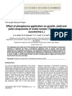 Effect of Phosphorus Application on Growth, Yield and Yield Components of Snake Tomato (Trichosanthes Cucumerina L.)