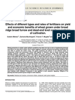 Effects of Different Types and Rates of Fertilizers on Yield and Economic Benefits of Wheat Grown Under Broad Ridge Broad Furrow and Dead-End Level Contour Systems of Cultivation