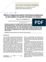 Effects of Leguminous Plants (Centrosema Pubescens) as Feed Additive for Growth Stimulation on Broilers