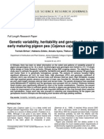 Genetic Variability, Heritability and Genetic Advance in Early Maturing Pigeon Pea (Cajanus Cajan L.) Genotypes