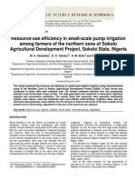 Resource-Use Efficiency in Small-scale Pump Irrigation Among Farmers of the Northern Zone of Sokoto Agricultural Development Project, Sokoto State, Nigeria