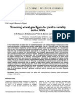 Screening Wheat Genotypes for Yield in Variably Saline Fields