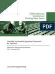 Toward a Sustainability Appraisal Framework for Transport