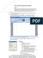 12. Menyisipkan Table Pada Program Microsoft Word