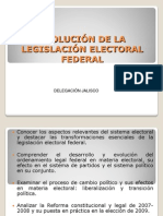 EVOLUCIÓN DE LA LEGISLACIÓN ELECTORAL FEDERAL