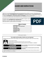 Amana Dishwasher ADB1100AWB Manual