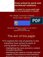 Transitions From School to Work and Intergenerational Relations