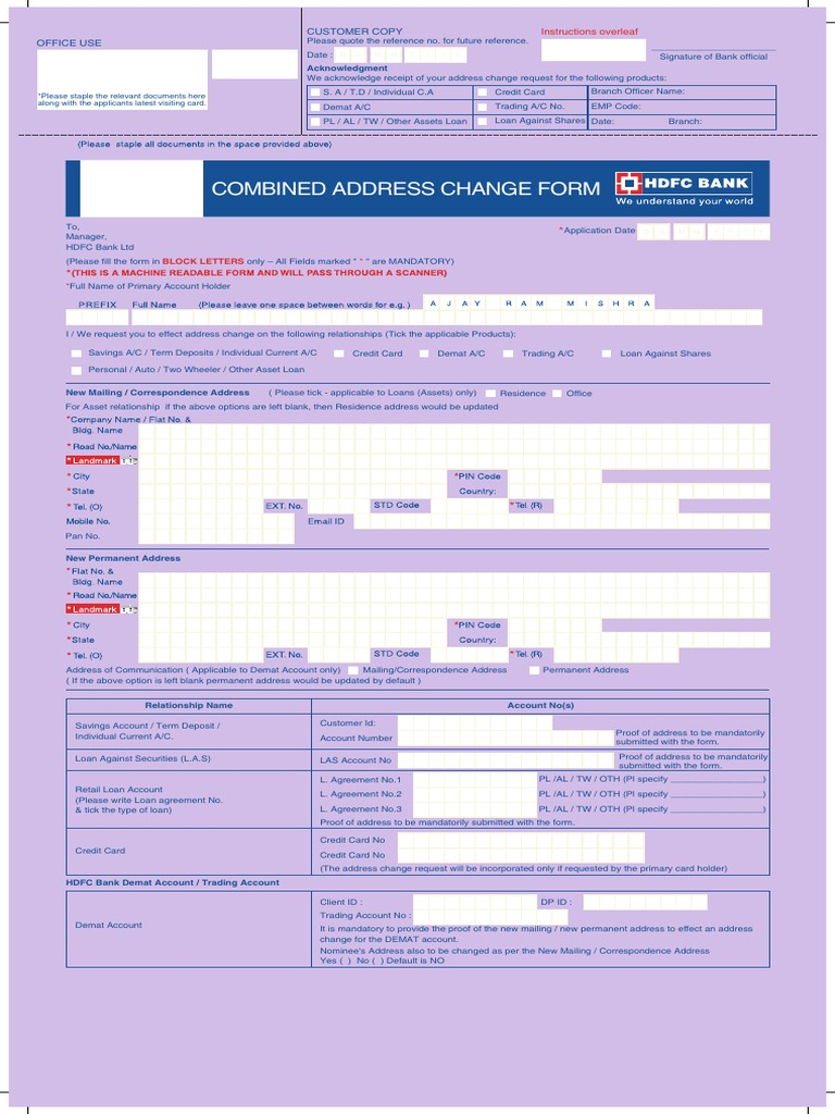 Combined Address Change Form | Address (Geography) | Loans