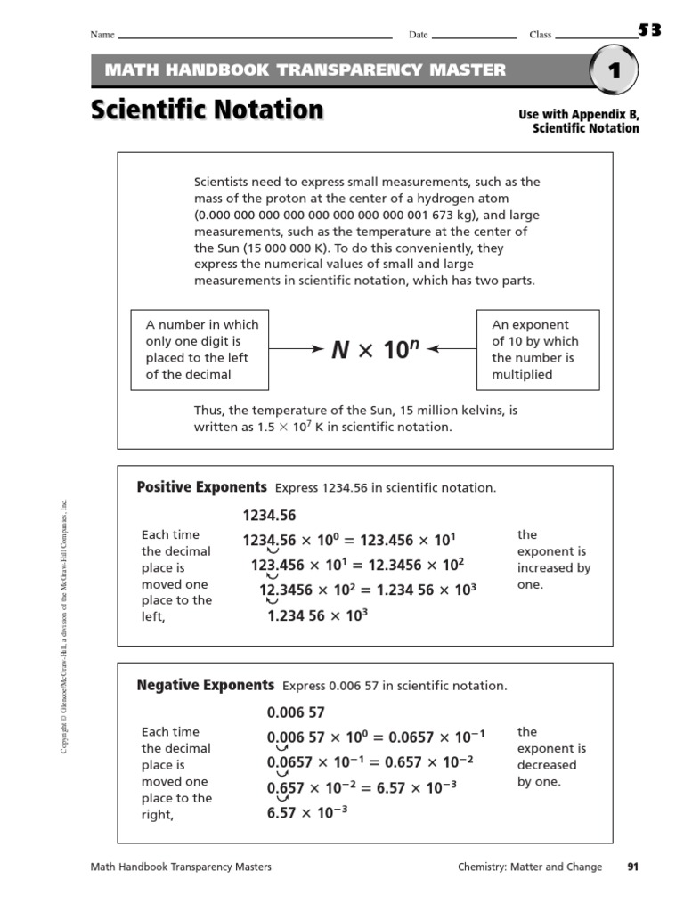 worksheet Math Handbook Transparency Worksheet scientific notation worksheets multiplication exponentiation