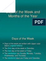 Days of the Week and Months of The