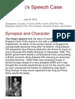 The Kings Speech Case Study