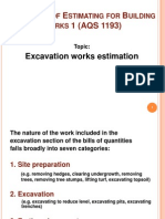 estimating for excavation works