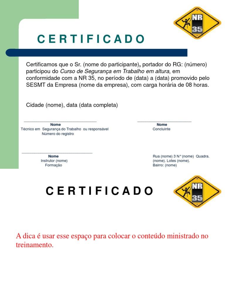 Certificado De Treinamento De Nr 35
